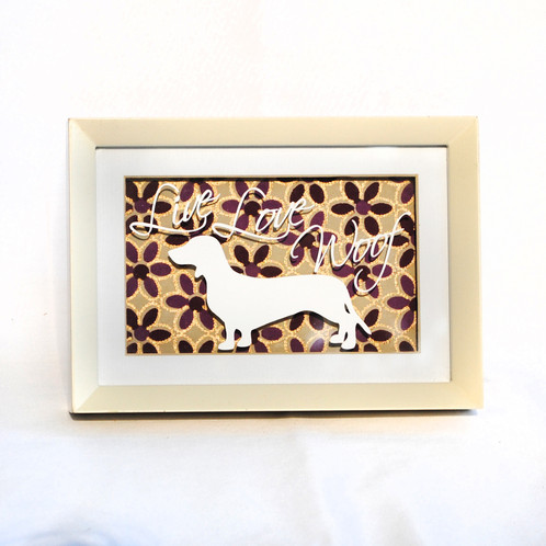 4x6 Live Love Woof Dachshund Frame Art
