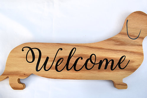 Dachshund Shaped Welcome Sign