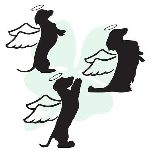 Sitting Pretty Dachshund Angels Vinyl Stickers
