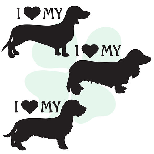 I Love My Dachshund Vinyl Stickers