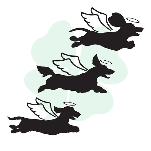 Running Dachshund Angels Vinyl Stickers