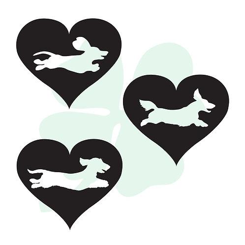 Running Dachshund Heart Vinyl Stickers