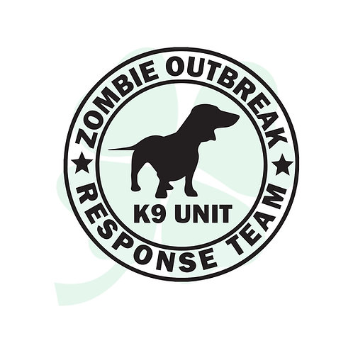 Zombie Outbreak Doxie K9 Unit Vinyl Sticker