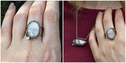dendritic agate, cubic zirconia and moonstone accents