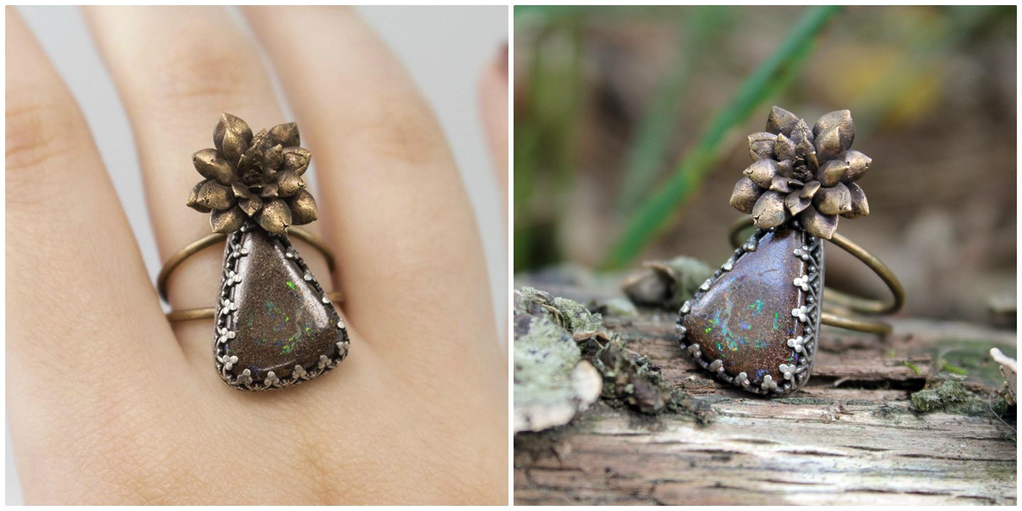 Australian boulder opal, bronze succulent