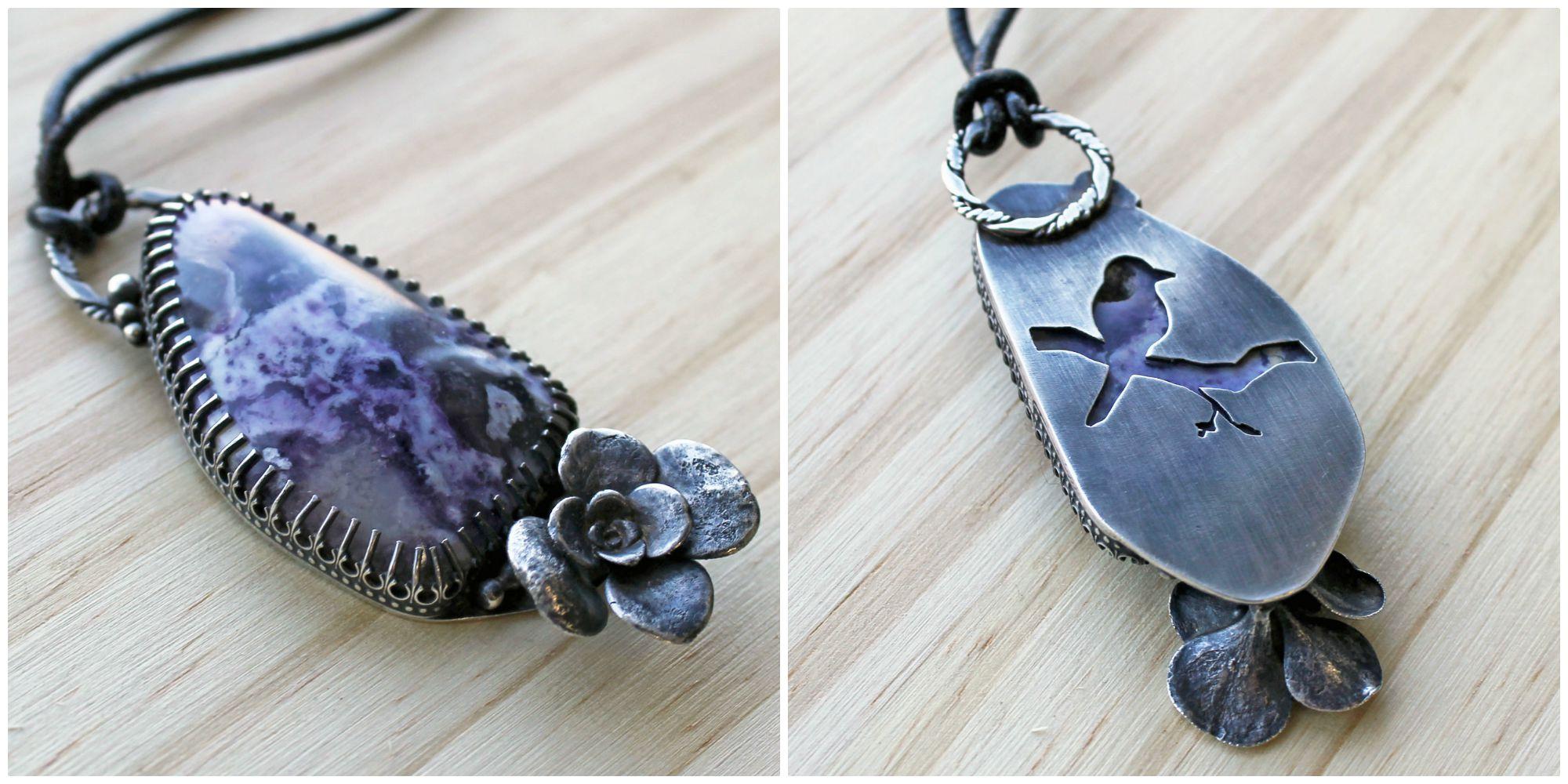 morado opal, sterling silver succulent