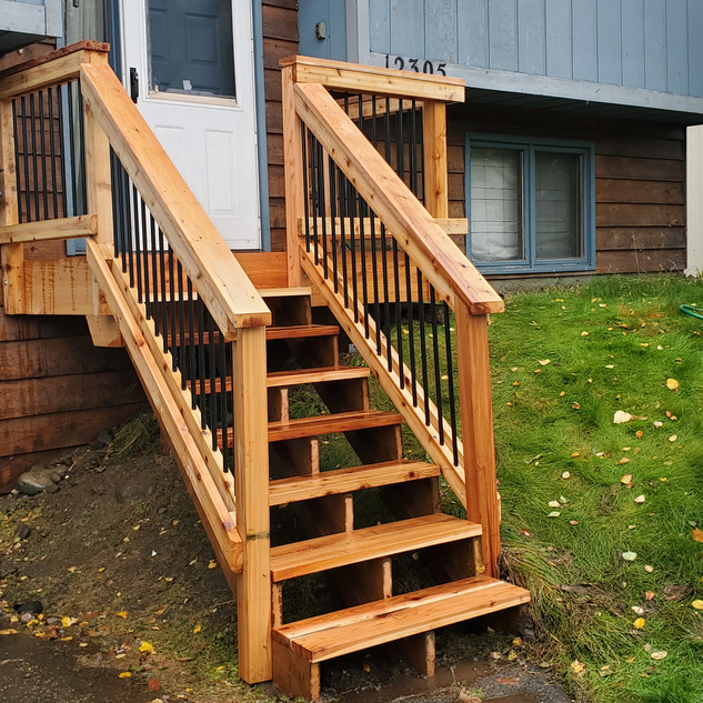 7x4 Cedar Deck with Angled Stairs Front