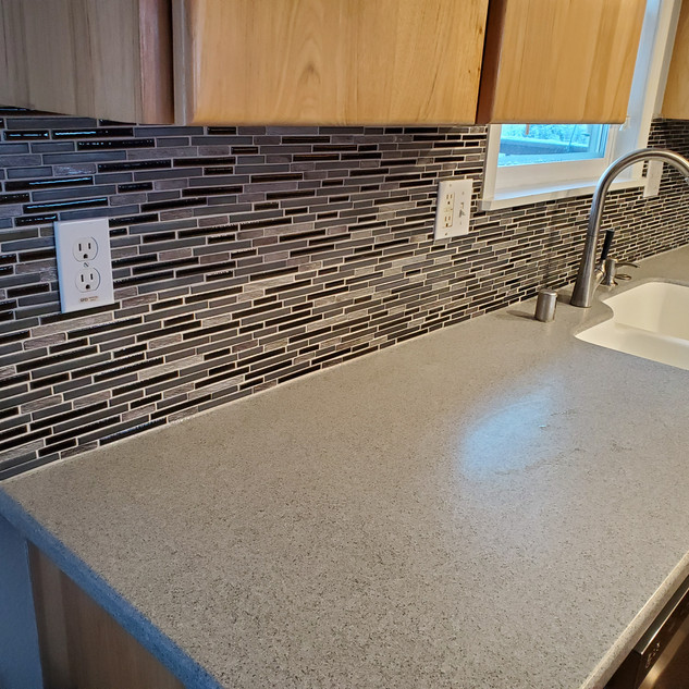 All New Backsplash Tile & Metal Rim. .jp