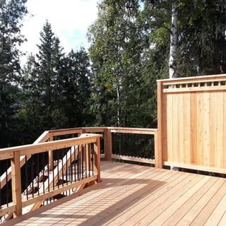 Cedar Back Deck with Privacy Walls.
