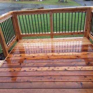 Cedar Front Deck in the rain.