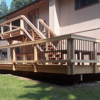 Multi Tier Back Deck with built in Benches.