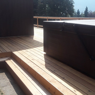 Cedar Back Deck supporting Jacuzzi.