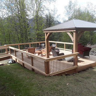 Cedar Front Deck with Handicap Ramp & Gazebo.