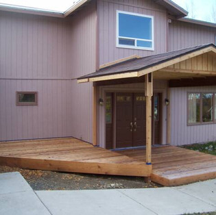 Front Cedar Deck with Covered Entry.