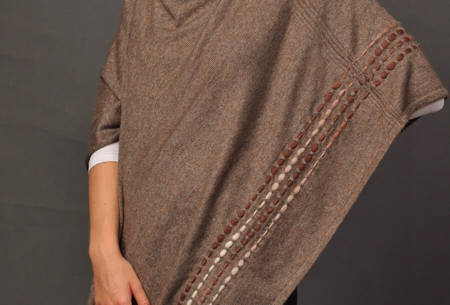 PEBBLES Woollen Poncho- Taupe