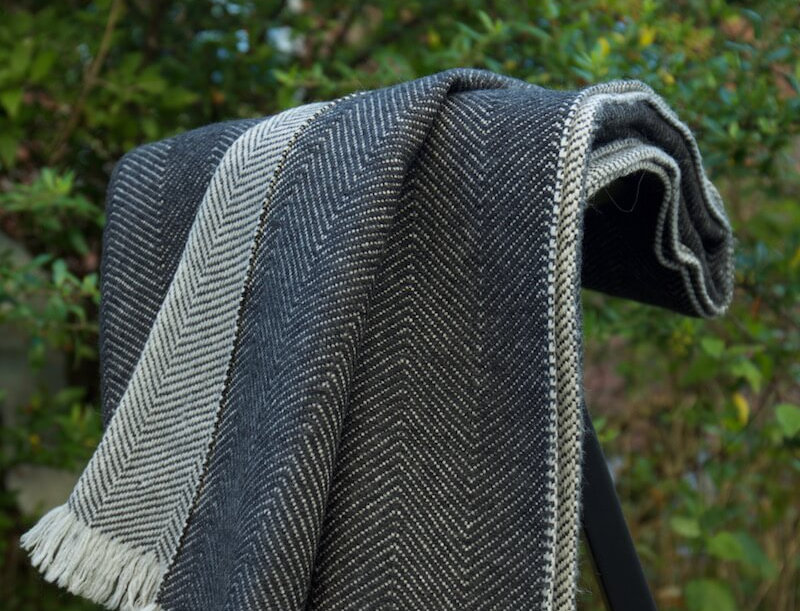HYGGE Reversible Cashmere Blend Blanket-Charcoal