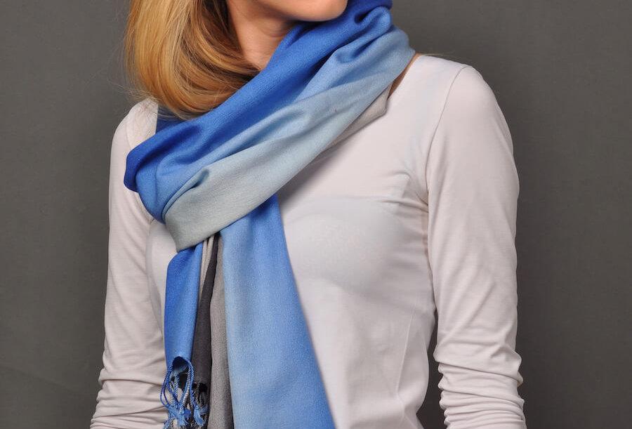 WONDERS Signature Premium Pashmina Scarf- blue/grey edition