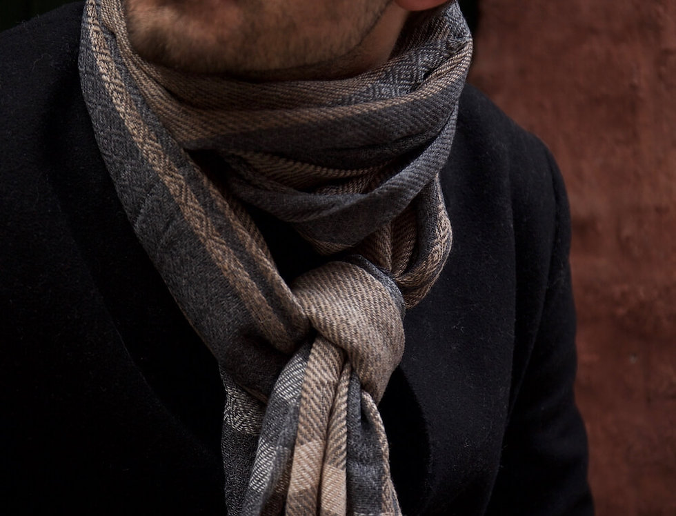 OAKS- geometric weave colour block scarf- grey