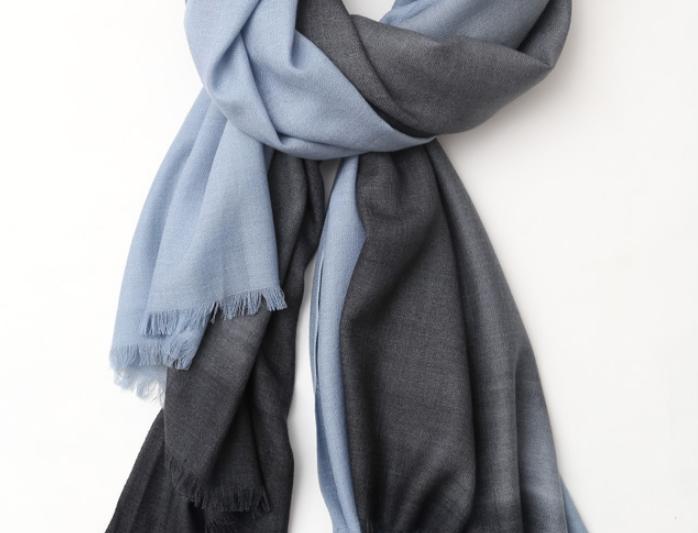 SHOSHIN- Extrafine merino scarf- Nordic blue