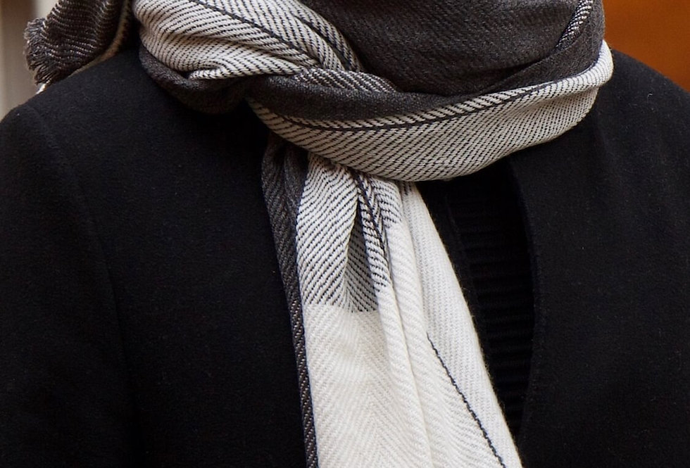 MYSA- Natural colour block scarf- reversible