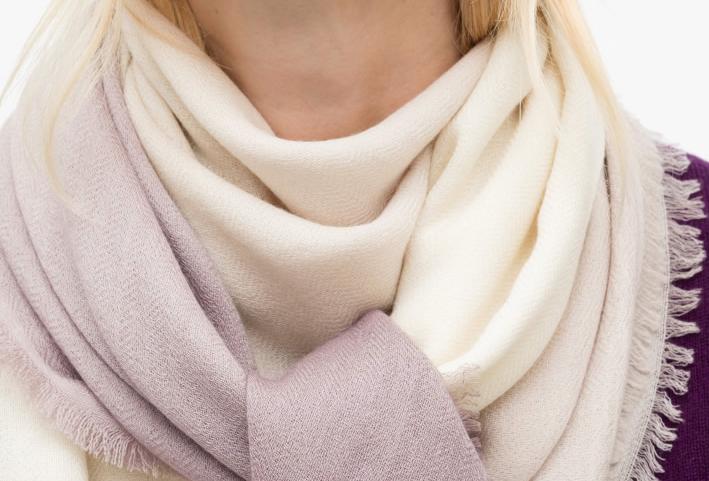 SHOSHIN- Extrafine merino scarf-Pastel creme lilac