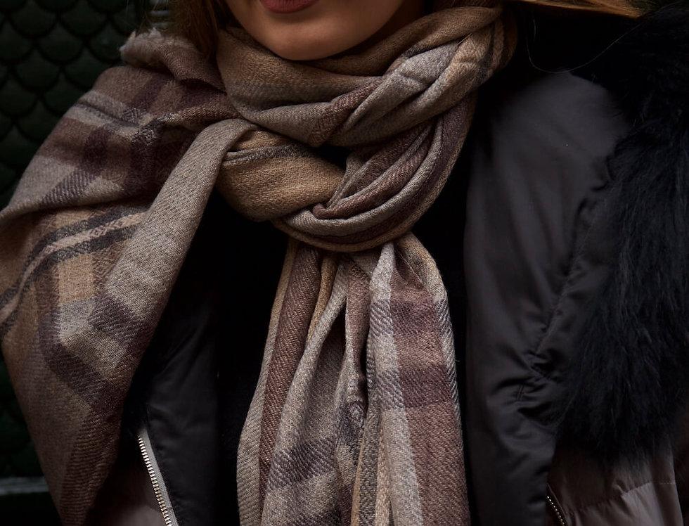 OAKS- geometric weave colour block scarf- beige