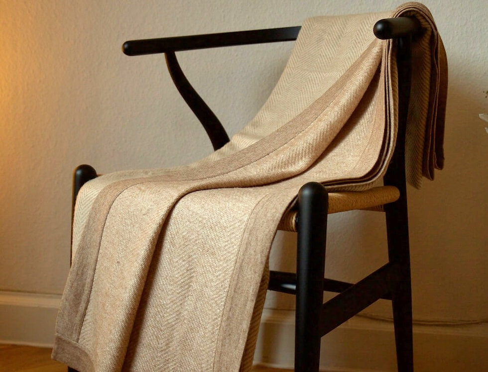 HYGGE XL Herringbone Cashmere Blanket- Camel edition