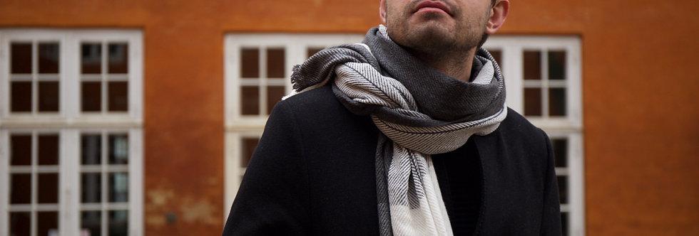 MYSA- Reversible minimal herringbone woollen wrap scarf- natural grey