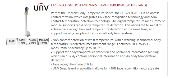 UNV Face Recognition Thermal Test Stand.