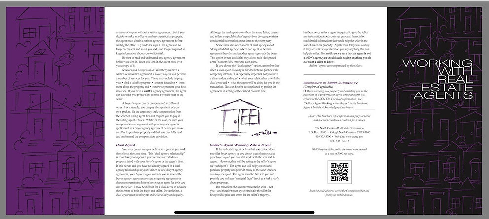 North Carolina Real Estate Commission Working With Real Estate Agents Brochure