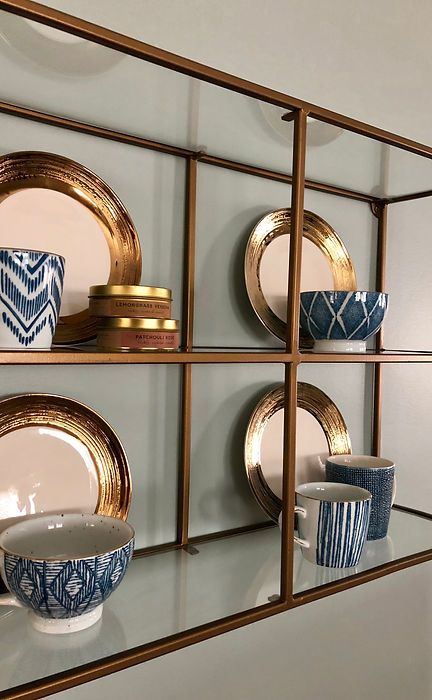 New attitude highlights the blue and gold palette this couple craves. #makeover #decor #roomdesign #openconcept