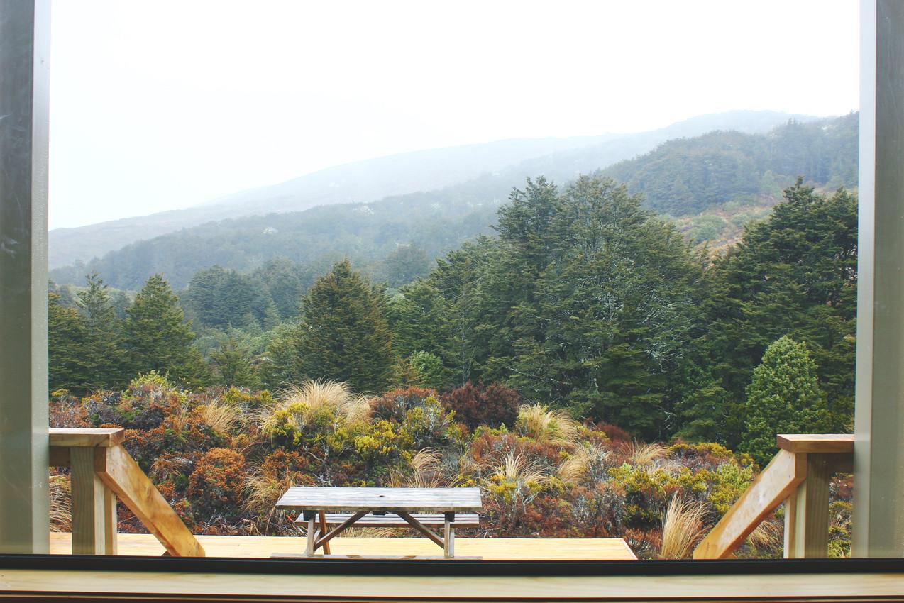 Blick aus der Waihohonu Hut an einem regnerischen Tag