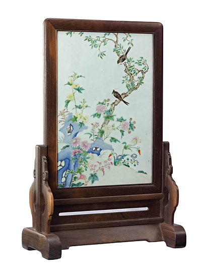Table Screen with Porcelain Painting