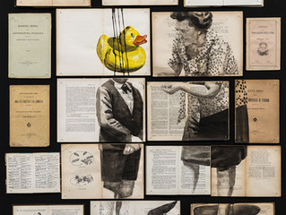 Fragmented Ink Paintings on Arrays of Vintage Books by Ekaterina Panikanova