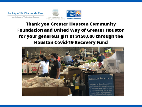 Greater Houston Covid-19 Recovery Fund Grants $150,000 to the Society of St. Vincent de Paul
