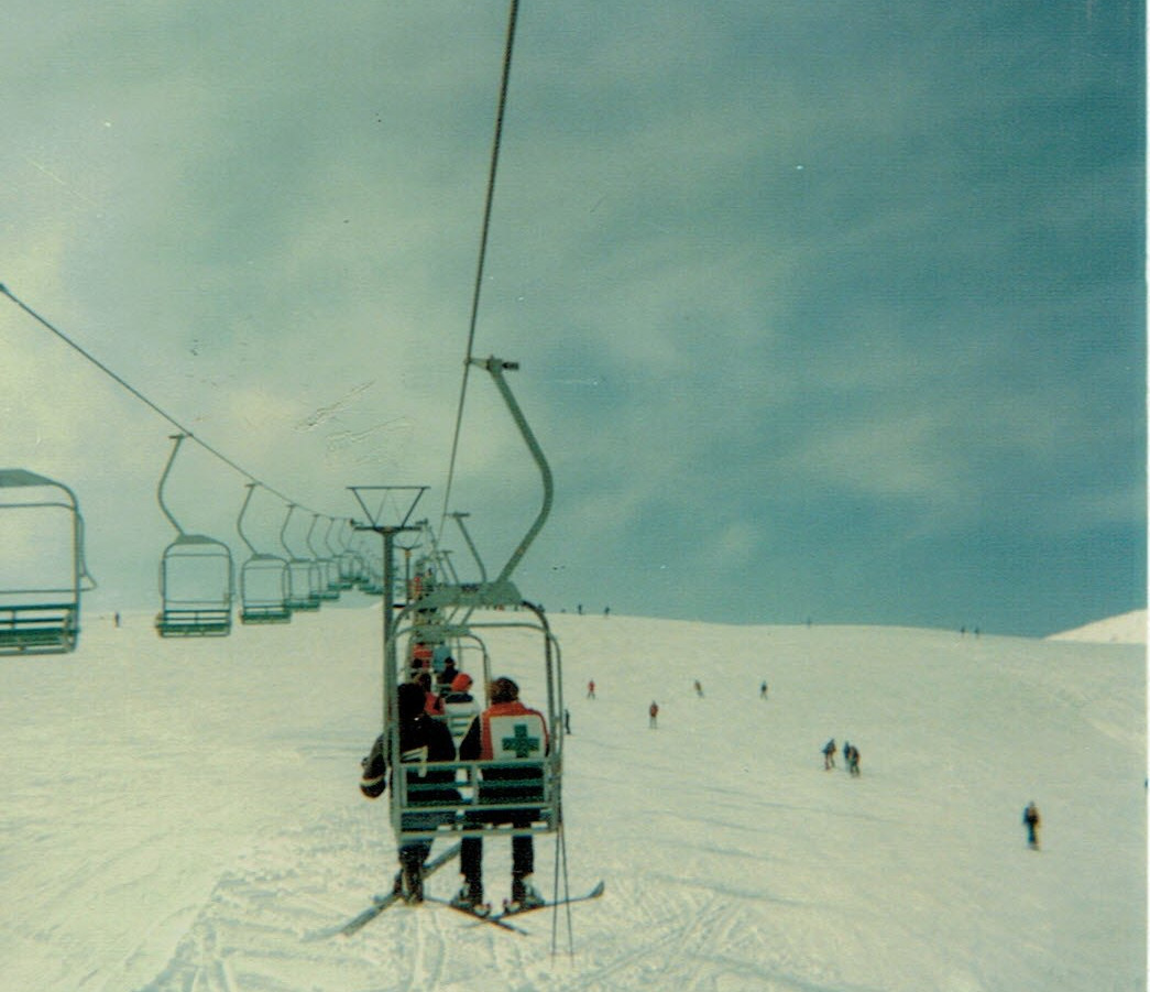 View up the chairlift