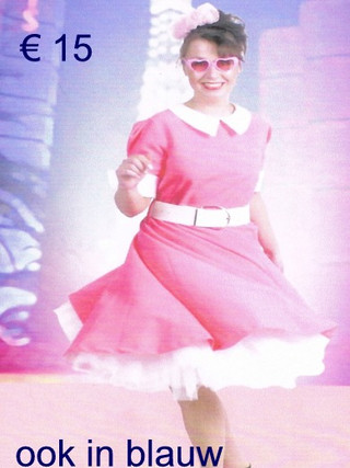 Rock en roll kleedje roze ook in blauw d