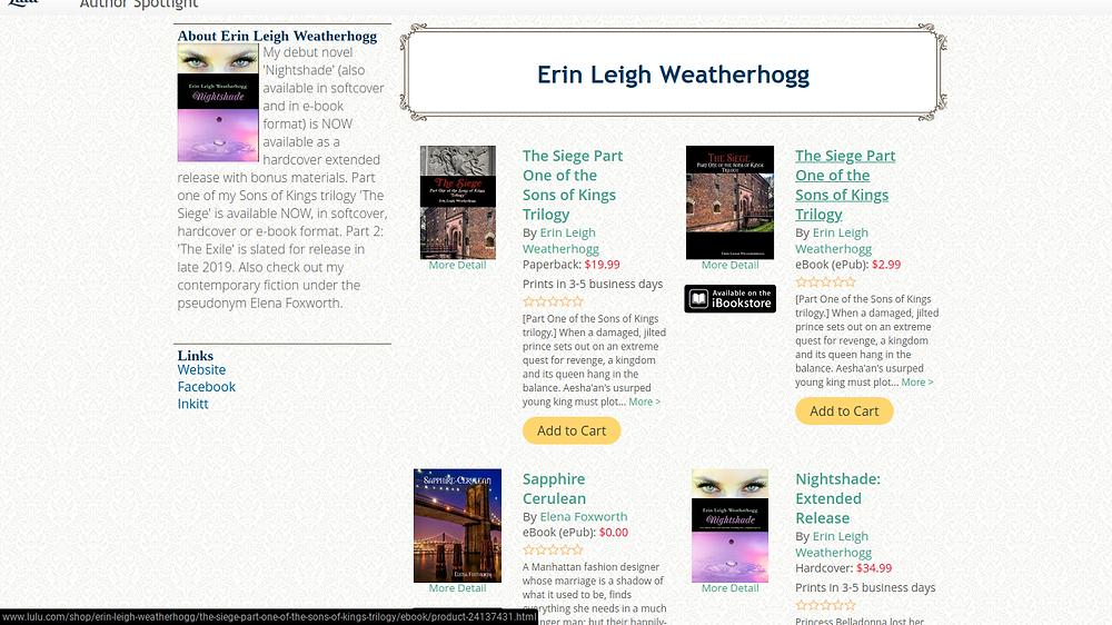 Erin Leigh Weatherhogg's Author Spotlight
