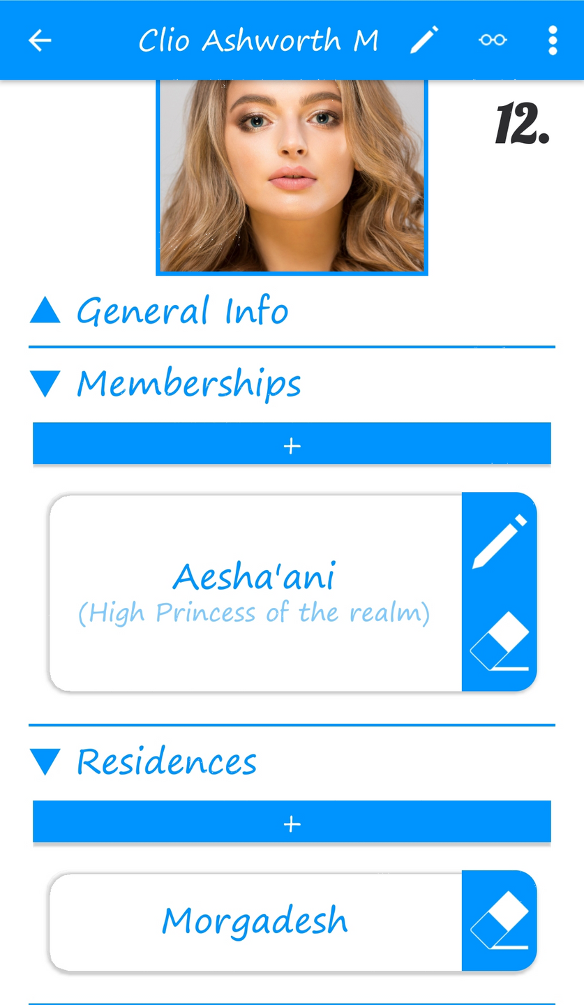 12. Person (character) detail page (w. details added via Places & Group pages)