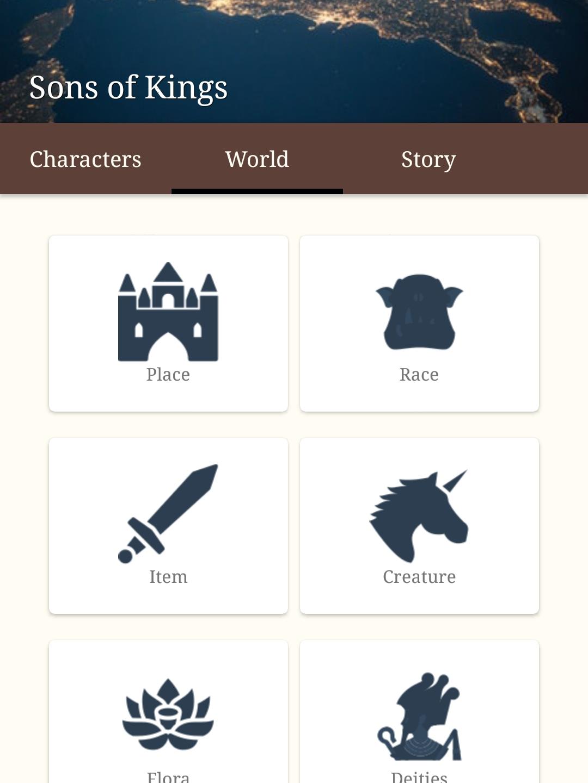 12. World menu (for adding world details)