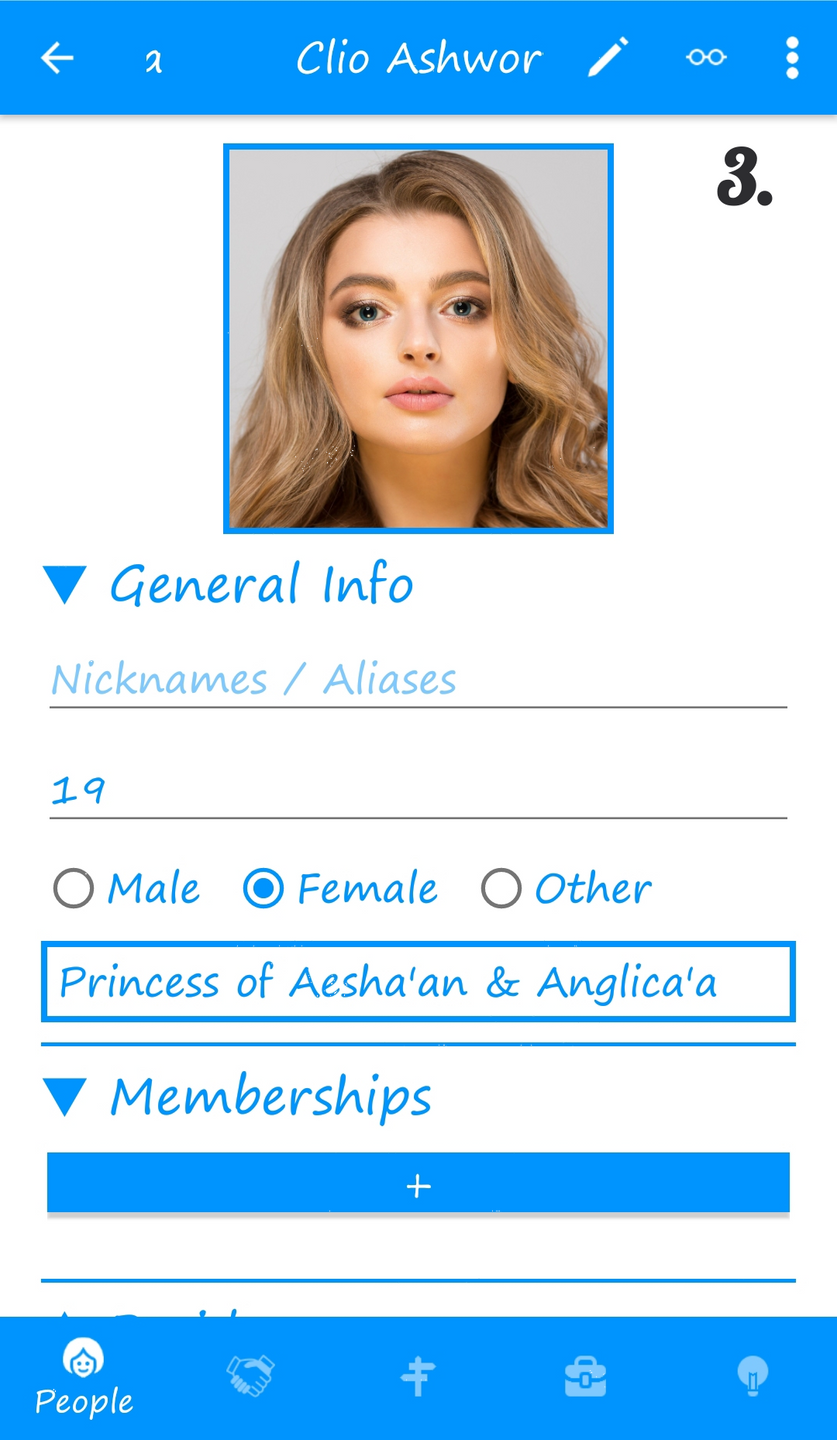 3. Person (character) detail page (in-app, collapse/expand categories)