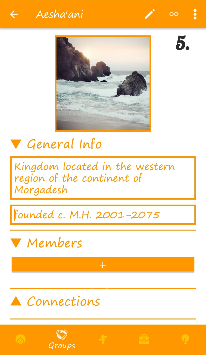 5. Group detail page (in-app, collapse/expand categories)