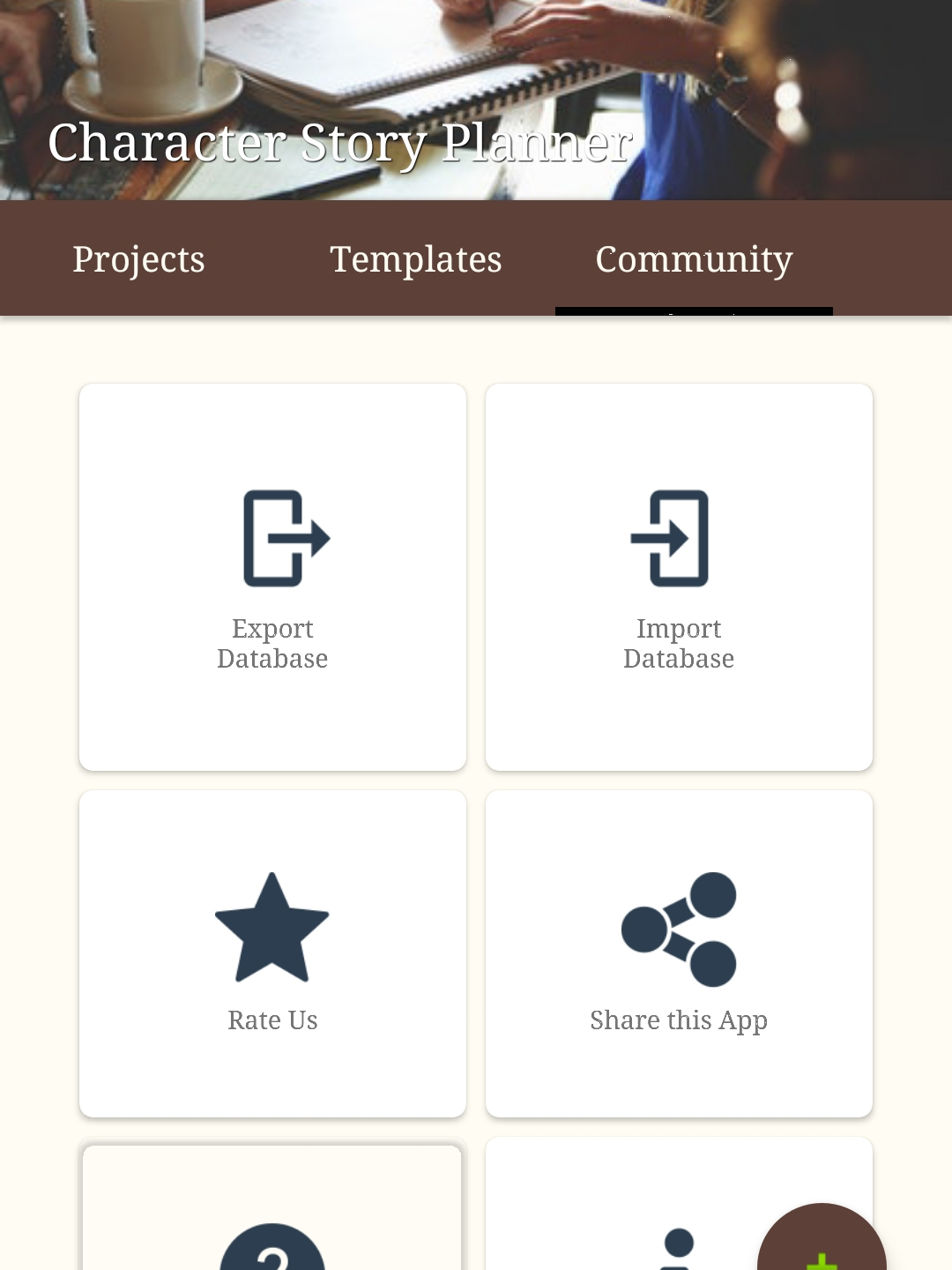 15. Community menu (for shared projects)