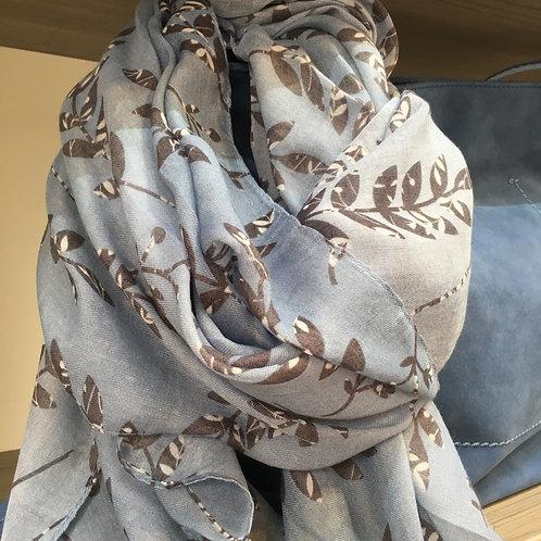 Powder blue leaf scarf