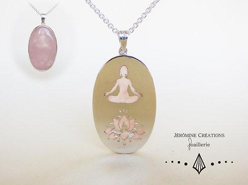 Pendentif Zen quartz rose