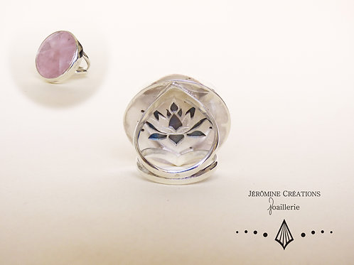 Bague lotus quartz rose