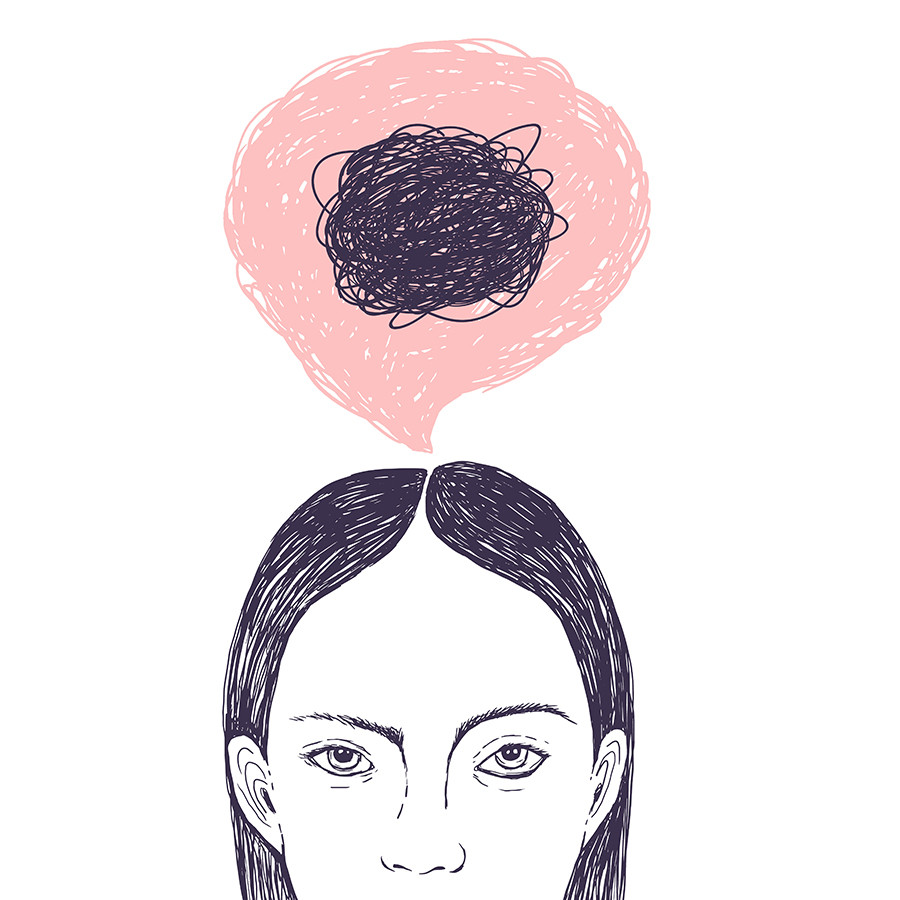Girl with anxiety rumination