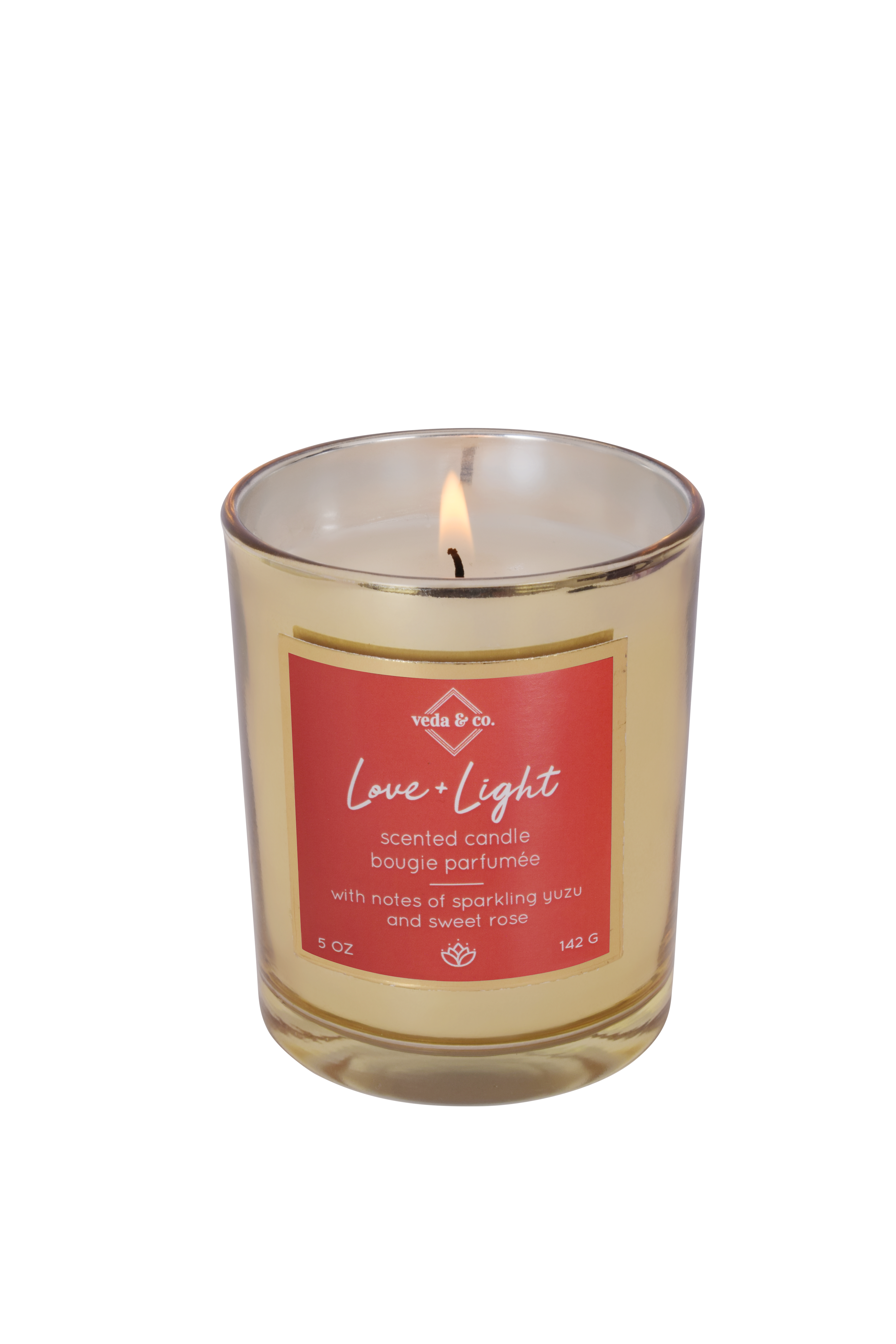 Love Light Gilded Glass Candle Veda Co