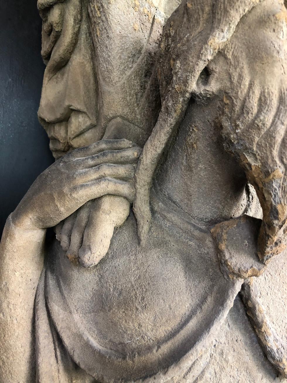 Detail des Portals des Bamberger Doms. Das Alte Testament als die tragende Kraft für das Neue Testamenet