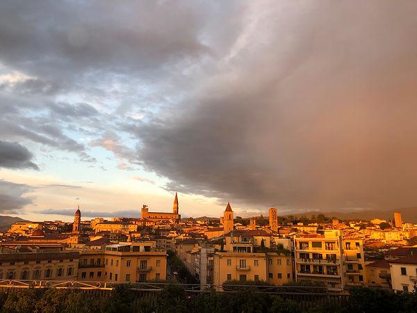 Blick auf Arezzo von der Hotelterasse